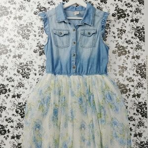 Cowgirl ruffle chambray and floral tulle dress